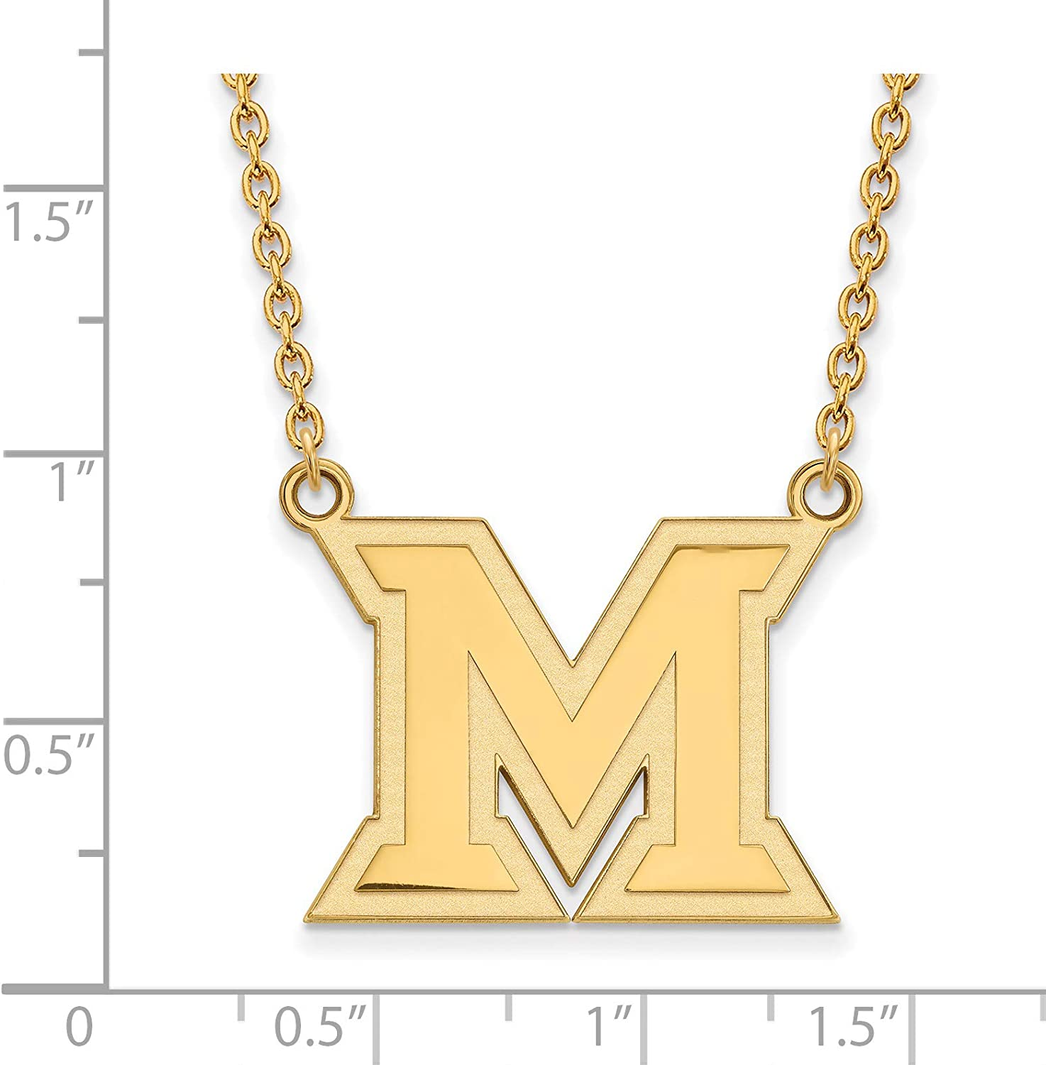 Miami University RedHawks School Letter Logo Pendant Necklace Gold Plated Silver 20x24mm 18 Inches