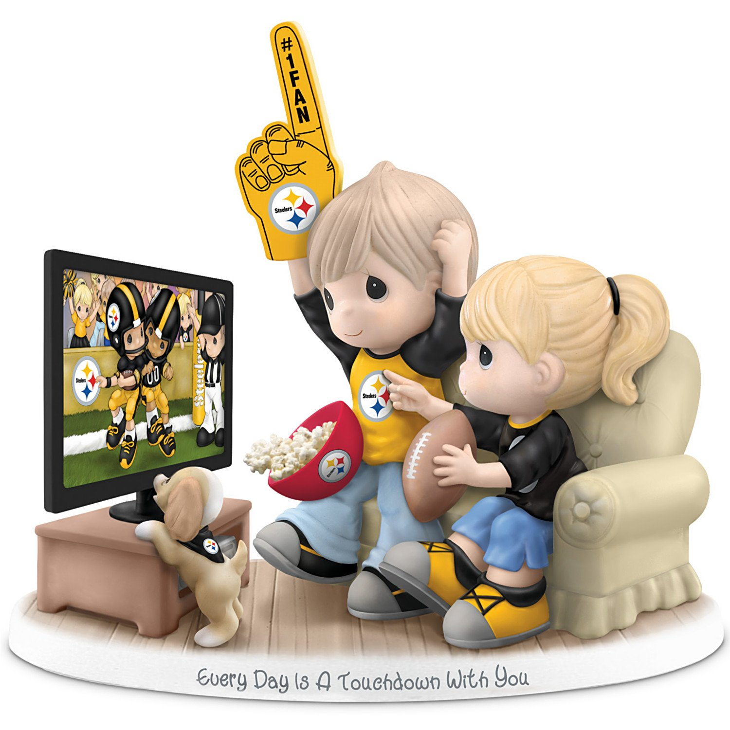 Figurine: Precious Moments Every Day Is A Touchdown With You Steelers Figurine by The Hamilton Collection