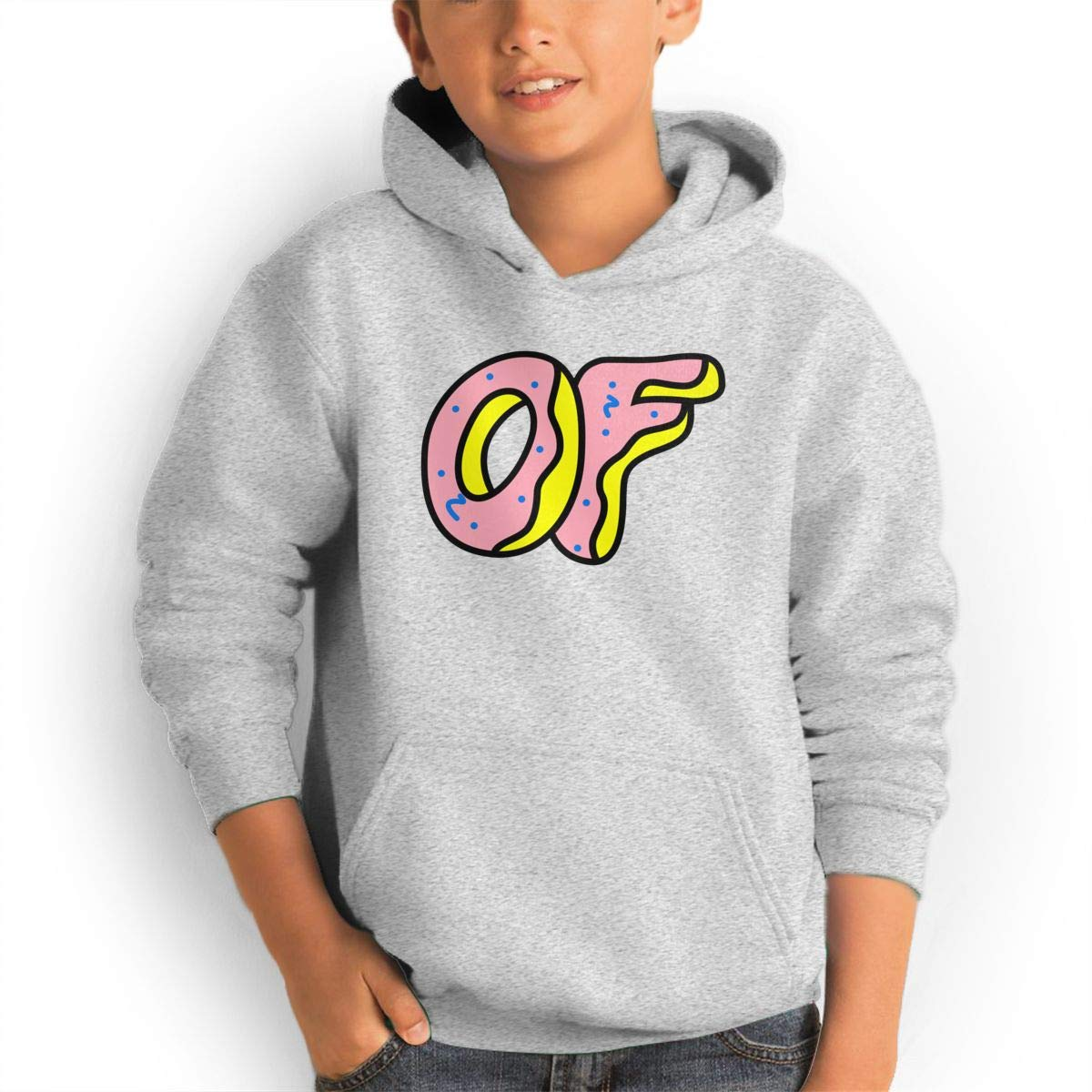 Neloha Teen S Odd Future Donut Logo Grey Hooded Cool Aesthetic Pullover H Shirts