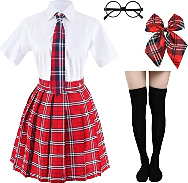 Disfraz de tartán japonés plisado de uniforme escolar cosplay con ...