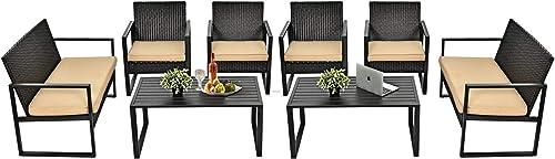 Tangkula 8-Piece Patio Rattan Furniture Set