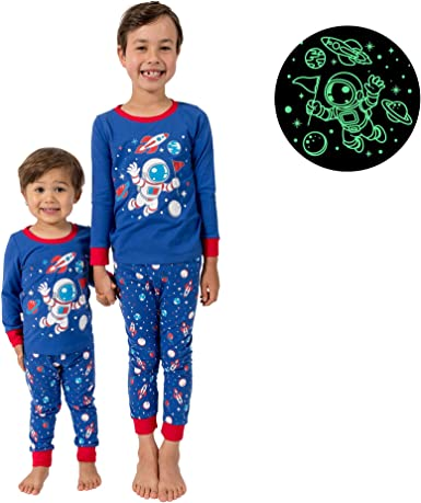 Shark Glow in The Dark Dinosaur Space Little Jupiter Pajamas for Boys