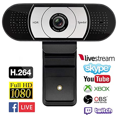 Spedal Streaming 1080P Webcam, Gaming Live USB Camera Compatible with Xbox  One OBS Mixer Xsplit, HDR and Autofocus Tech with Dual Noise Reduction Mics