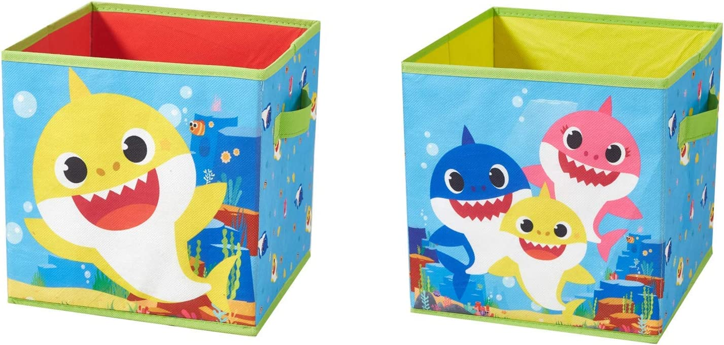Idea Nuova Baby Shark Set of 2 Durable Storage Cubes with Handles