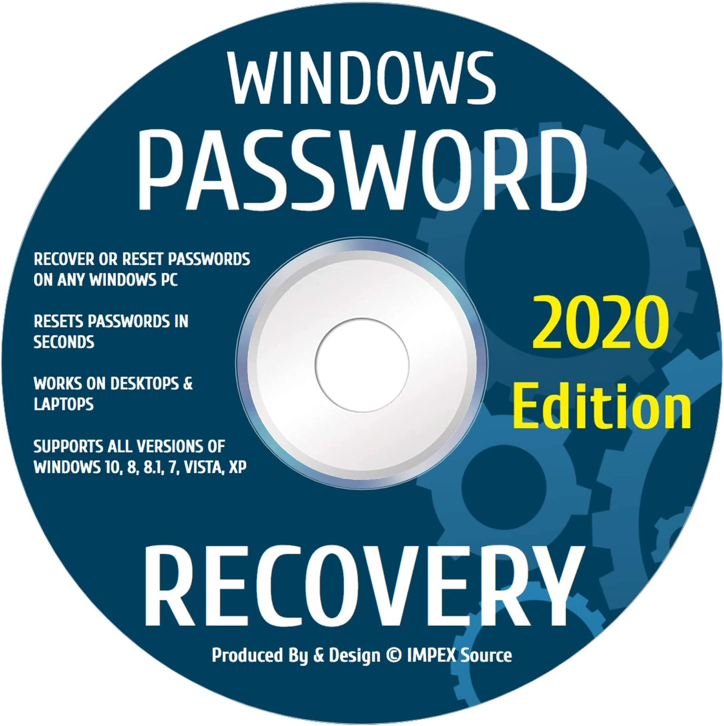 Windows Password Reset Recovery Disk Windows 10, 8.1, 7, Vista, XP Rated #1 Best Unlocker Remove Software CD DVD For All Windows PC Computers Laptops & Desktops By IMPEX Source