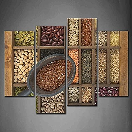 Wall Art Home Decor Various Seeds And Grains  Art//Canvas Print Poster