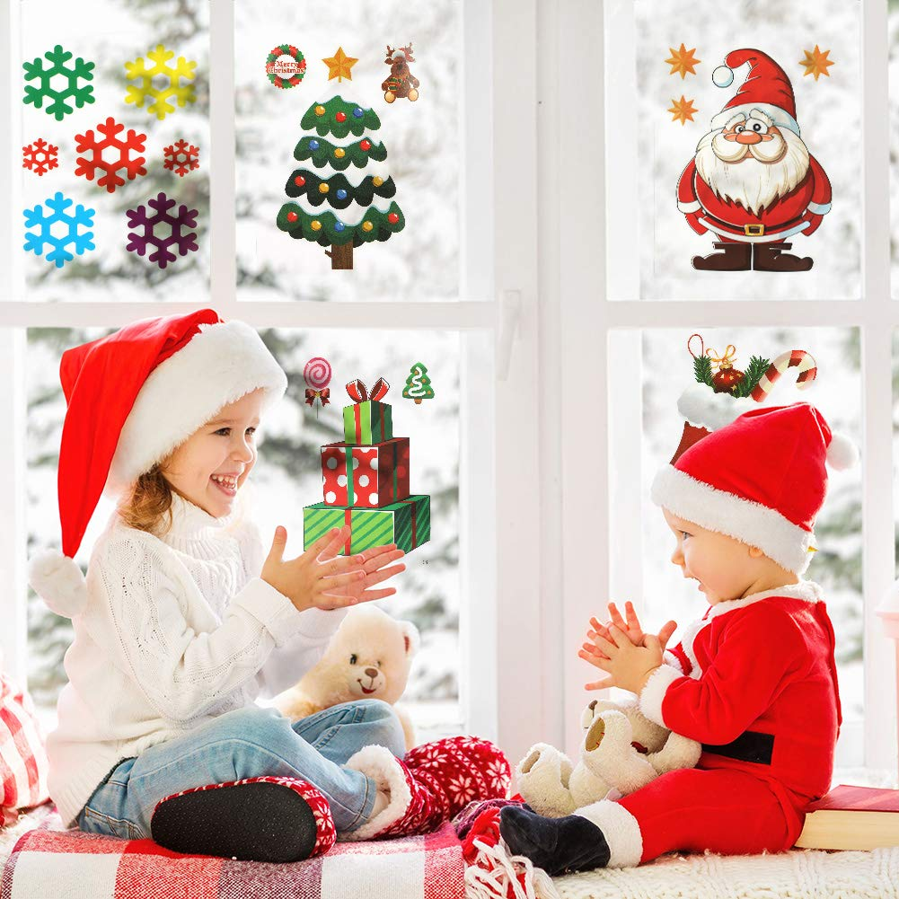 Baring 20Pack Christmas Decorations Holiday Window Clings Stickers Christmas Winter Wonderland Decorations for Window Decor Xmas Festive Decorations