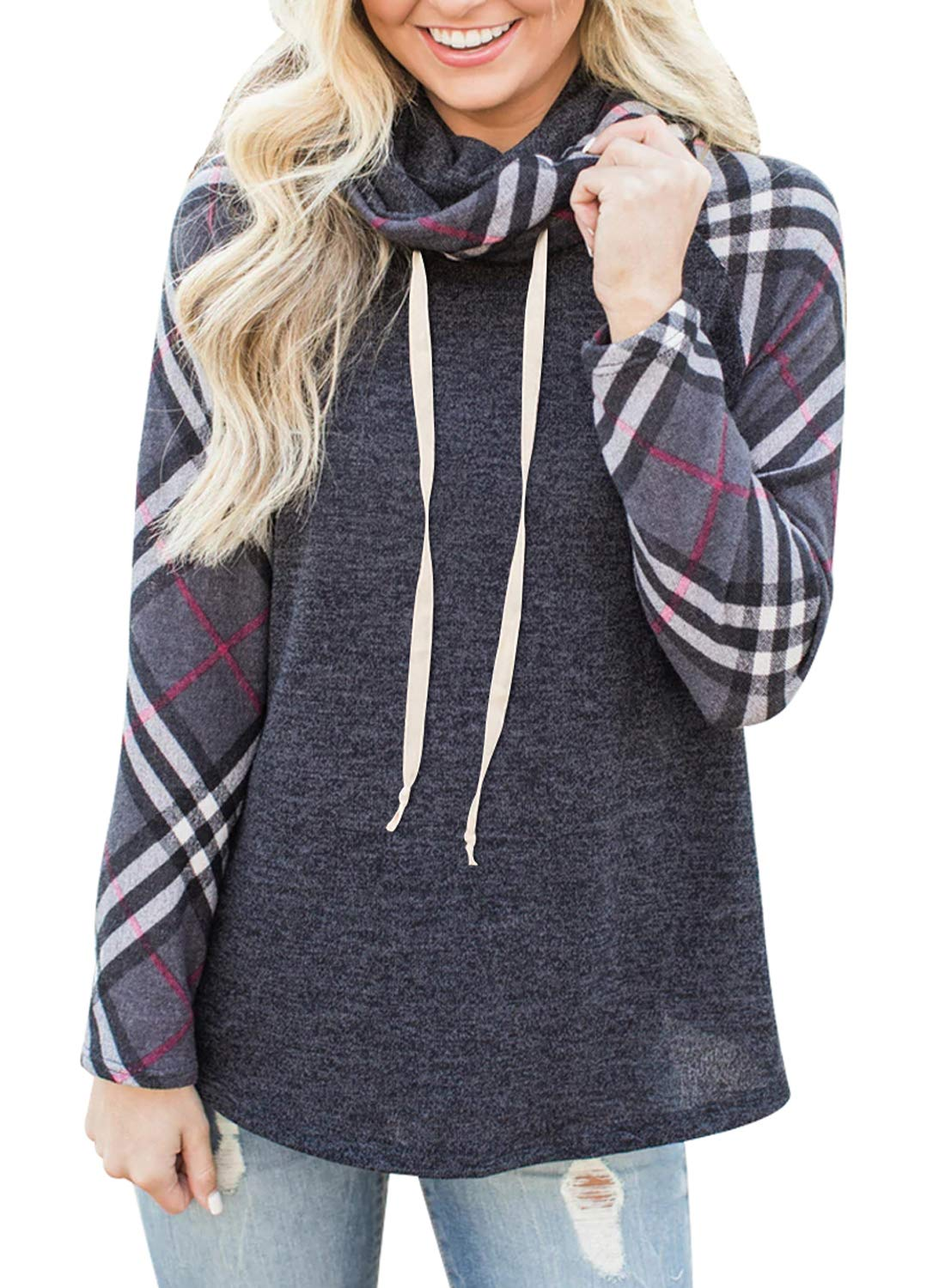 Womens Long Sleeve Cowl Neck Plaid Sweatshirts Raglan Pullover Shirts Fall Lightweight Tunic Tops Casual Blouse Black XL 16 18