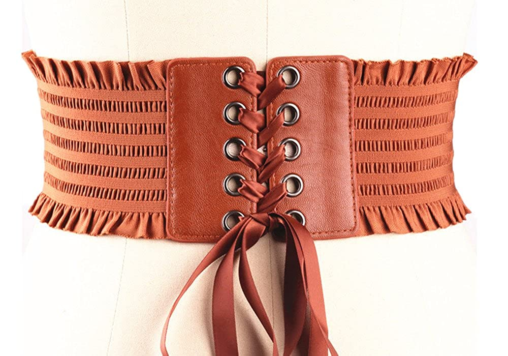 Womens Lace-up Cinch Belt Tied Corset Elastic Waist Belt