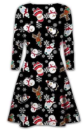 6beec692bfac Womens Christmas Swing Dress Girls Gift Candy Ladies Gingerbread Snowman  Smock Reindeer Skater Mini Dress Size 8 to 22: Amazon.co.uk: Clothing
