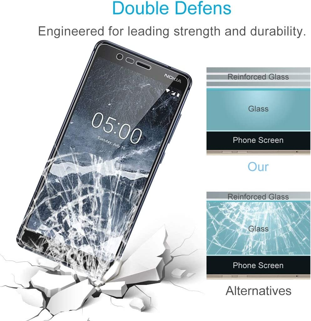 GzPuluz Glass Protector Film 50 PCS 9H 2.5D Tempered Glass Film for Nokia 5.1