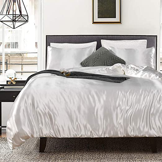 WHITE SOLID SATIN SILK COMPLETE USA BEDDING ITEM 1000TC CHOOS SIZE AND ITEMS