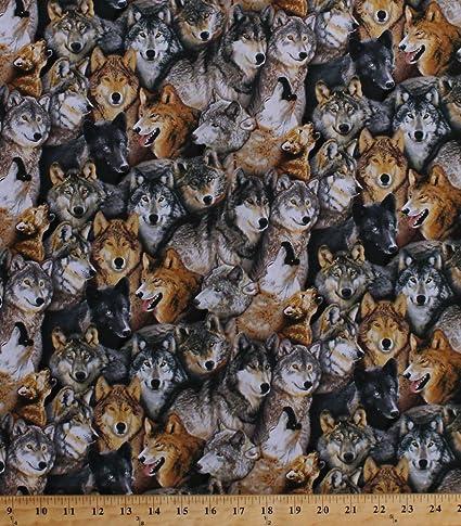 1 Yard Cotton Fabric Elizabeth/'s Studio North American Wildlife Wolves Scenic