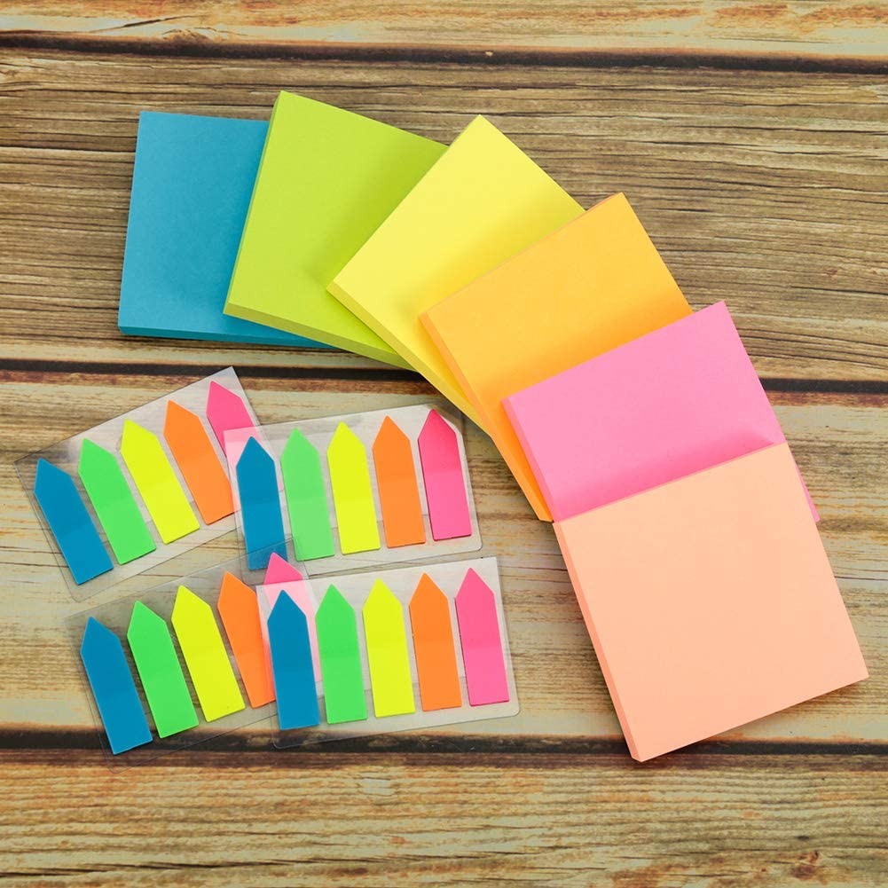 PET Arrows for Office School Home(10 Pads) Chenkaiyang Sticky Notes Bright Color Post Notes Stick Self-Adhesive Removable Sticky Note