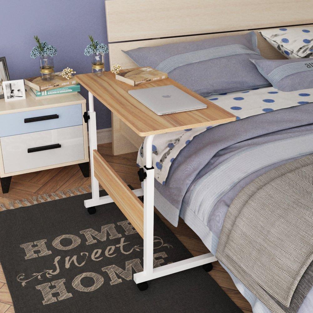 DlandHome 31.4'' Large Size Mobile Side Table, Adjustable Movable w/wheels, Portable Laptop Stand for Bed Sofa, 05#1-80O Oak, 1 Pack by DlandHome (Image #5)