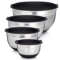 Sterline Stainless Steel Mixing Bowl Set of 4 w/ Lids, Non-Slip Mixing Bowls .75, 1.5, 3, & 5-Quarts w/ Measurement Displayed Inside, Small-Large Nesting Bowls, Cooking and Kitchen Essentials, Silver