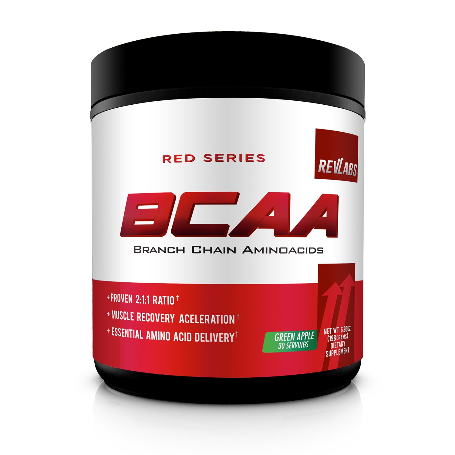 RevLabs- Red Series- BCAA-Proven 2:1:1 Ratio Branch Chain Amino Acids- Ultimate Muscle Recovery Acceleration- Green Apple -30 Servings