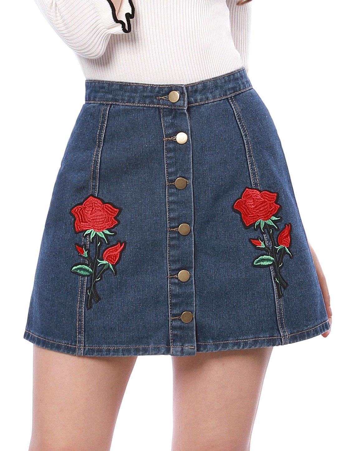 Allegra K Women's Rose Floral Applique Button Front A-Line Denim Skirt XL Blue