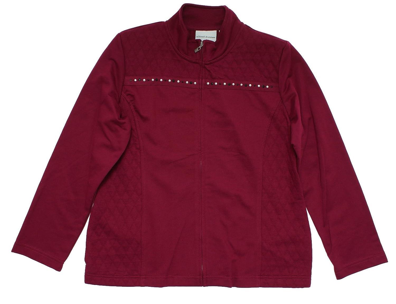 Alfred Dunner Sorrento Zip Up Fleece Spliced Quilt Beaded Jacket