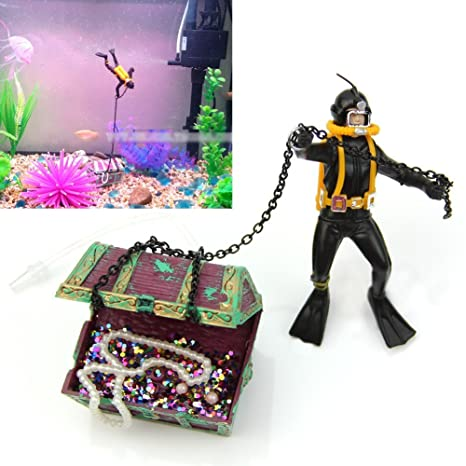 OWIKAR Decoración de acuario resina Frogman tesoro cazador rana bajo el mar buceo tesoro pecho aireación