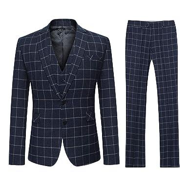 YOUTHUP Costume Homme Trois-Pièces Slim Fit Formel Careaux Elégant  Bussiness Mariage Veste Gilet et 40f5cb087bb