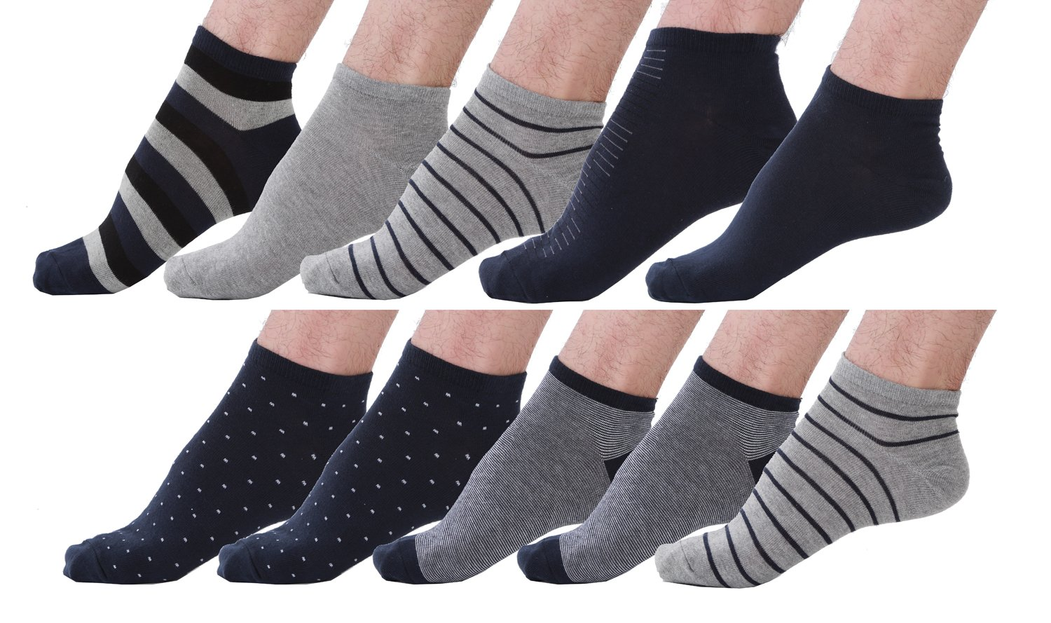 10 Pair Men's Cotton Sneaker No Show Summer Socks-L/XL