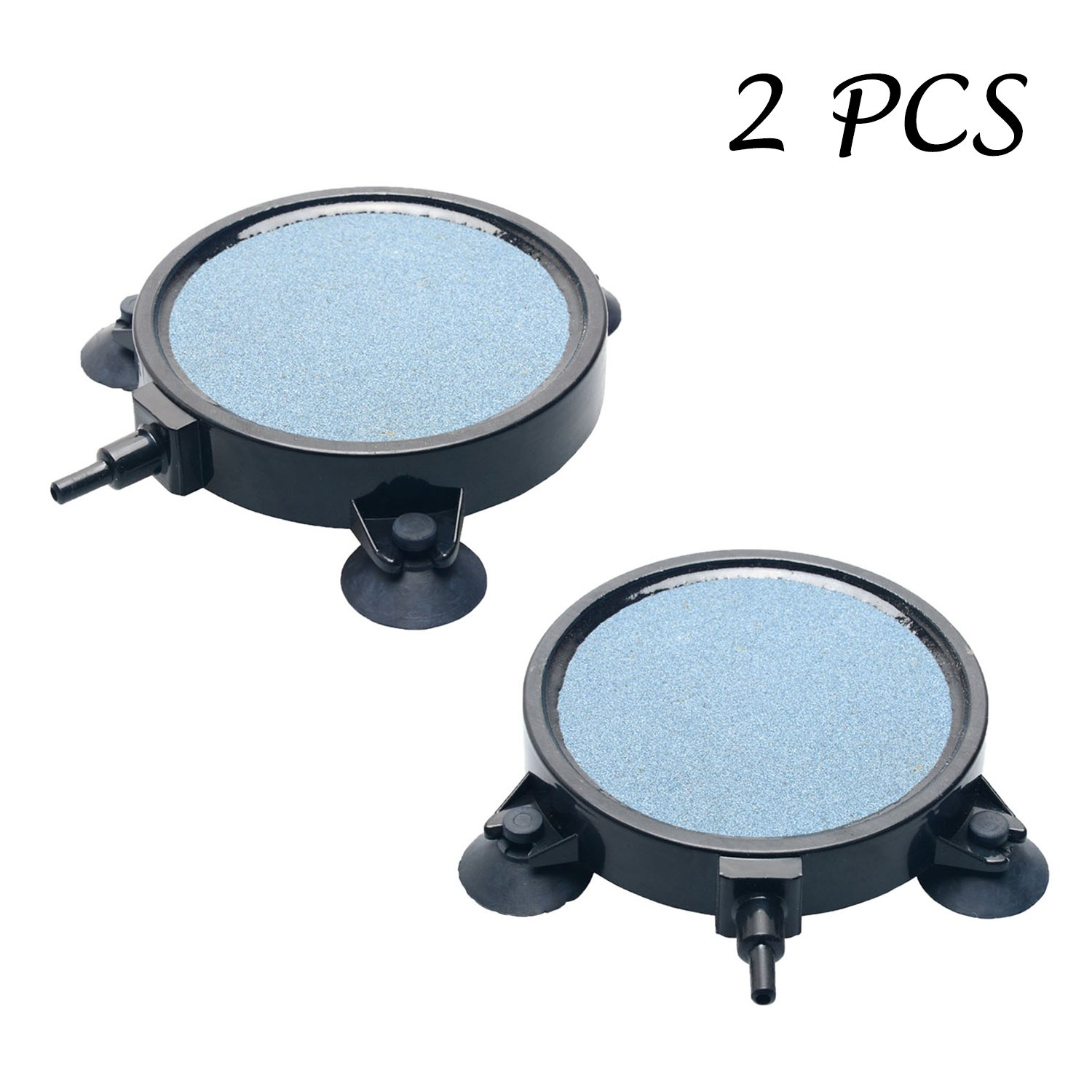 Pawfly 2 PCS 4-Inch Air Stone Disc Bubble Diffuser with Suction Cups for Hydroponics Aquarium Fish Tank Pump