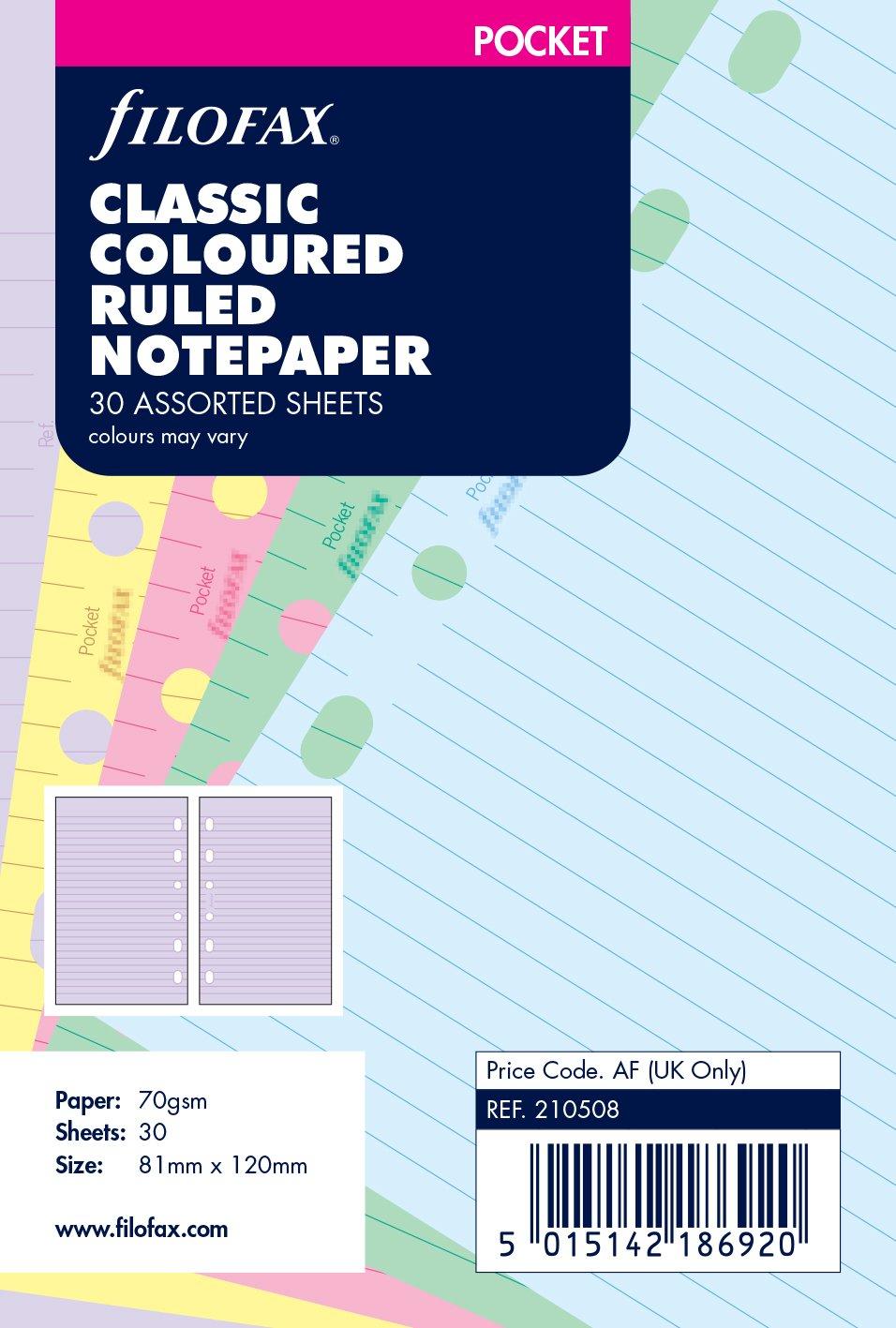 Filofax Pocket Classic - Recambio para agenda de anillas, hojas rayadas para notas, varios colores