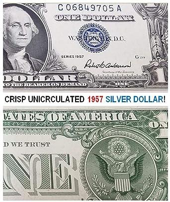 amazon com 1957 crisp uncirculated blue seal 1957 silver dollar
