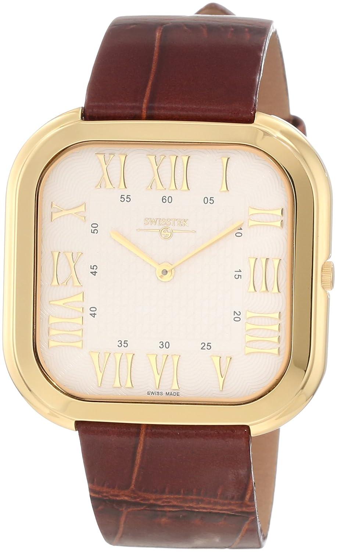 【日本未発売】Swisstek(スイステック) Men's SK21209G Limited Edition Gold Plated Stainless Steel Ultra Thin Swiss Quartz Watch B008YOH3SQ