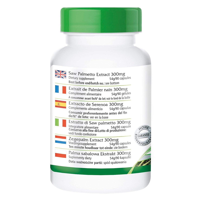 Saw Palm Extract 300 mg - Bote para 3 meses - VEGANO - Alta dosificación - 90 cápsulas - con beta-sitosterol: Amazon.es: Salud y cuidado personal