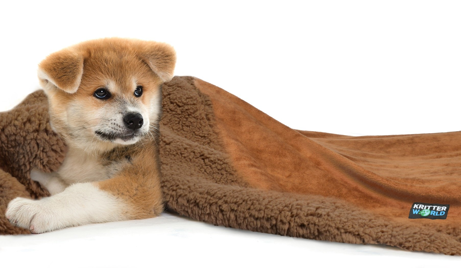 KritterWorld Pet Dog Cat Puppy Kitten Microplush Sherpa Snuggle Blanket for Couch, Car, Trunk, Cage, Kennel, Dog House, 45'' x30'' Dark Brown/Brown by KritterWorld (Image #1)