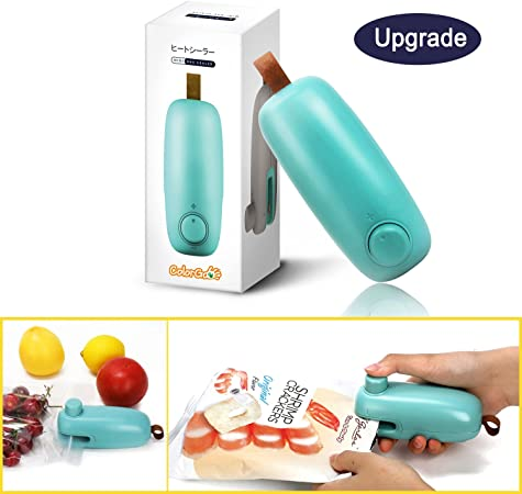 ColorGo Chip Bag Sealer, 2 in 1 Hand Held Mini Portable Heat Sealer for Plastic Bags Food Storage Resealer with Safety Lock [Upgrade Version & Patent ...