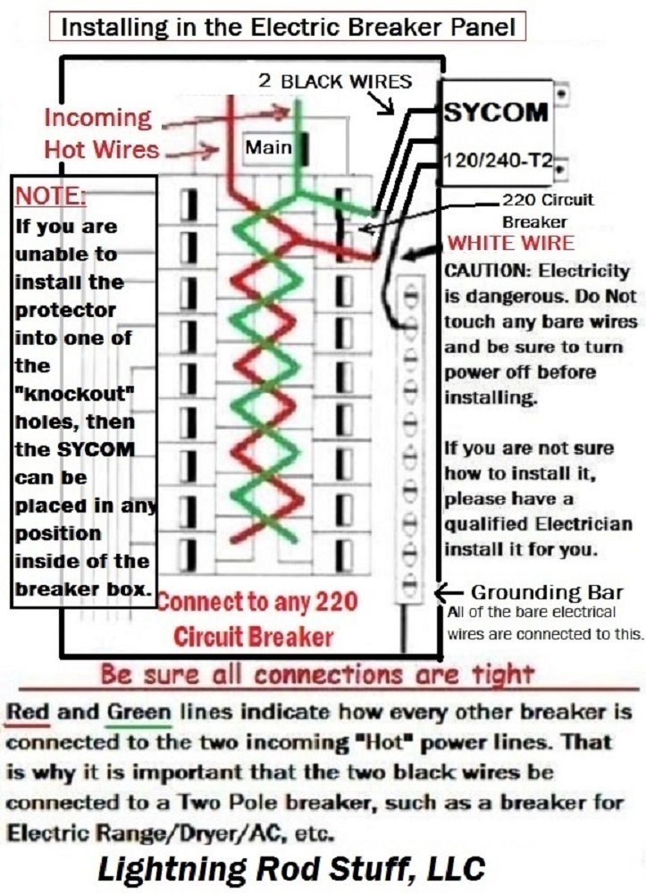71sBGLDi6iL._SL1001_ amazon com whole house lightning power panel surge protector plus whole house surge protector wiring diagram at edmiracle.co