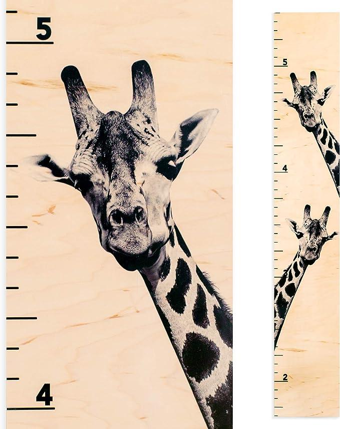 Giraffe Growth Chart Wooden Height Chart For Kids Boys Girls Two Giraffes Home Kitchen