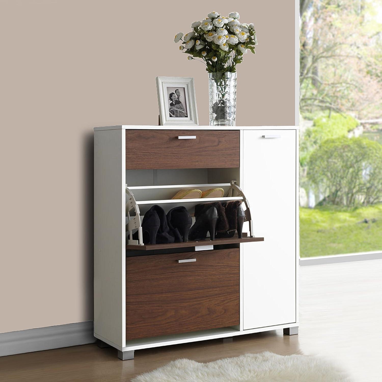 Amazon.com: Baxton Studio Chateau Storage Cabinet, White/Walnut ...