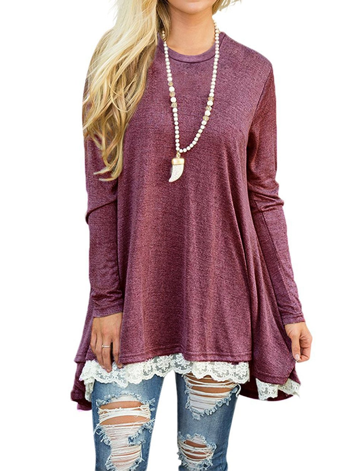 Hisweet Women's Lace T-Shirt Dress Casual Tunic Top Blouse (Long Sleeve/Short Sleeve) (Wine Red Long Sleeve, Large)