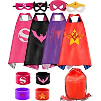 RioRand Kids Dress Up 4PCS Superhero Capes Set and Slap Bracelets forGirls Costumes Birthday Party Gifts