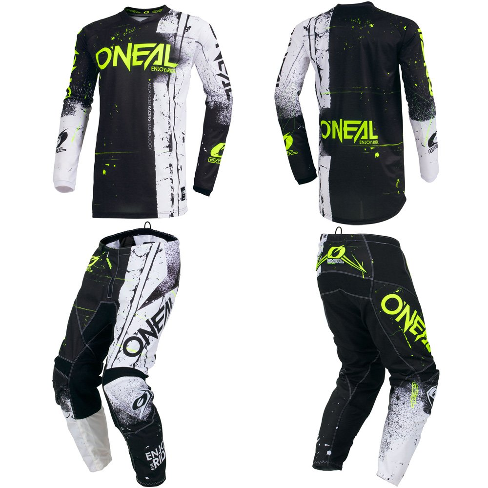 O'Neal Element Shred Black Adult motocross MX off-road dirt bike Jersey Pants combo riding gear set (Pants W34/Jersey Large)