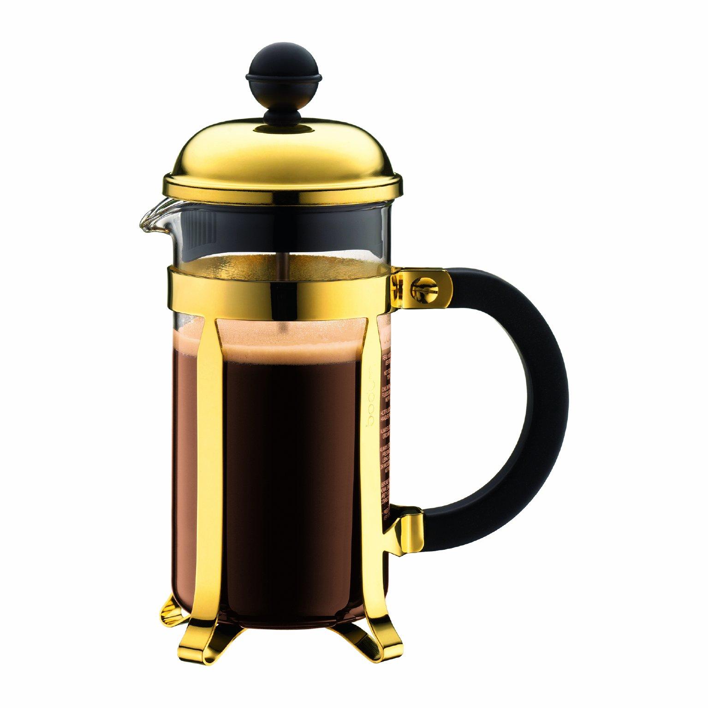 Bodum Chambord Gold Tone French Press Coffee Maker, 3 Cup