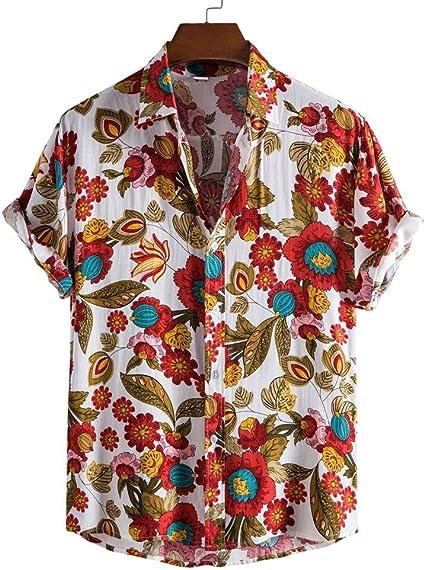 WQDS Camisa para Hombre Camisa Floral de Playa Casual ...