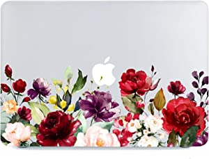 Lapac MacBook Air 13 Inch Clear Case 2020 2019 2018 Release A2179 A1932, Blossom Flower Macbook Air 13 inch Hard Shell Case & Retina Display Fits Touch ID with keyboard cover (Red Flower(A2179/A1932))