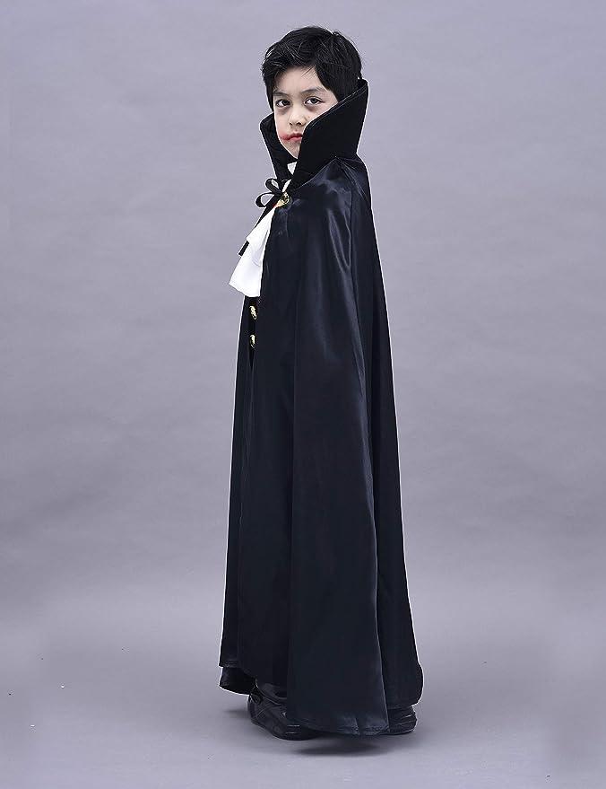 IKALI Disfraz de Vampiro para niño, Niños Disfraces de Halloween Dracula Capa 4 Piezas