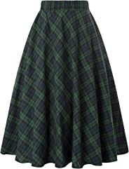 Kate Kasin Women's A-Line Vintage Skirt Grid Midi Plaid Skirt KK633/ KK495