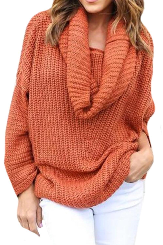 Oberora Women Fashion High Collar Perfect Neutral Loose Pullover