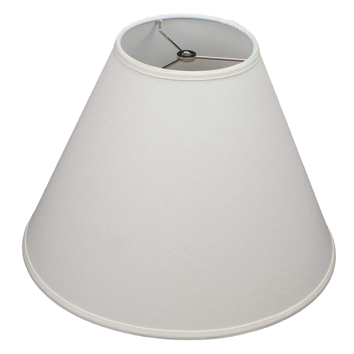 FenchelShades.com Lampshade 7'' Top Diameter x 17'' Bottom Diameter x 13'' Slant Height with Washer (Spider) Attachment for Lamps with a Harp (Cream)