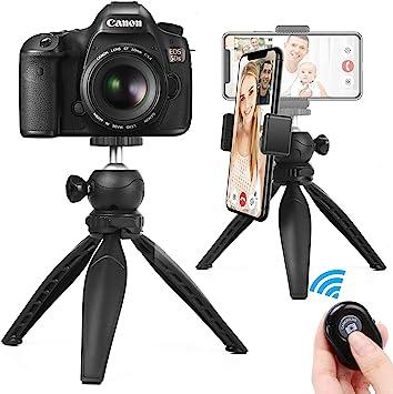 Camera Phone Tripod Blue Portable and Adjustable,Mini Foldable Travel Tripod Ball Head Compact Holder for Phone DSLR Camera