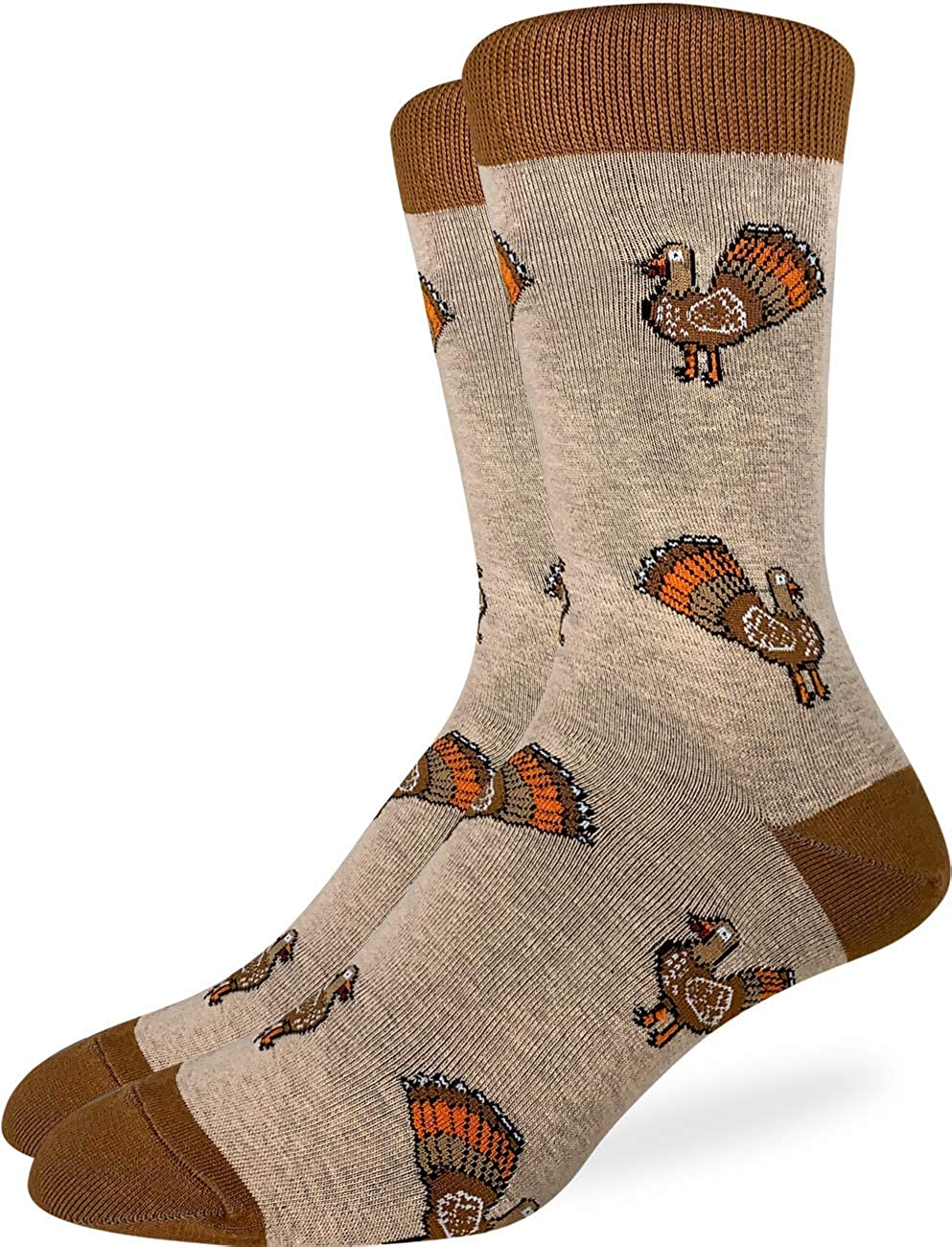 Good Luck Sock Men's Thanksgiving Turkey Socks - Brown, Adult Shoe Size 7-12