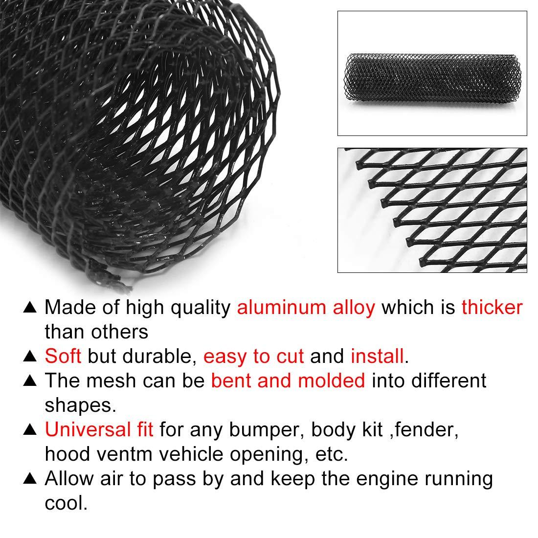 uxcell/® Car Auto Black Aluminum Alloy Front Bumper Rhombic Grill Mesh Sheet 8 x 16mm