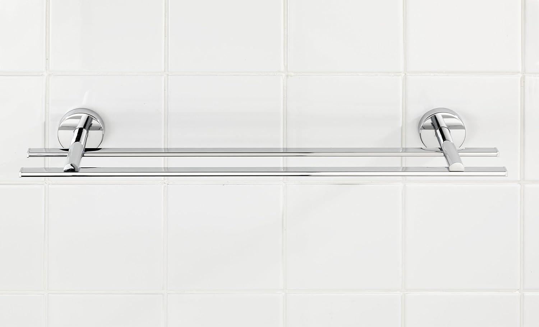 Befestigen ohne bohren Zinkdruckguss WENKO 22321100 Vacuum-Loc Badetuchstange Duo Capri Chrom 58.5 x 6 x 12 cm